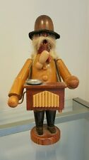 Vtg Erzgebirge German Wooden Pipe Smoking Man Incense Burner Organ Grinder