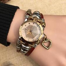 New Women Retro Punk Pendant PU Leather Watch Quartz Casual Bracelet Wirst Watch