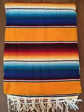 """Hand Woven Mexican Serape Saltillo Throw Blanket - X Large 60"""" x 84"""" Yellow/Blue"""