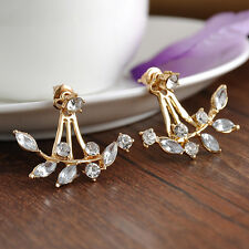 Stylish Crystal Leaf Ear Jacket Earring Gold Plated Back Cuff Stud Jewelry Gift