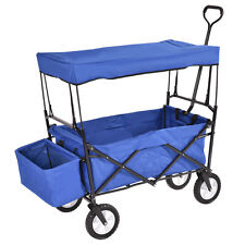 Folding Wagon W/Canopy Garden Utility Travel Collapsible Cart Outdoor Yard