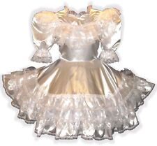 """Savannah"" Custom Fit WHITE SATIN RUFFLES Adult LG Baby Sissy Dress LEANNE"