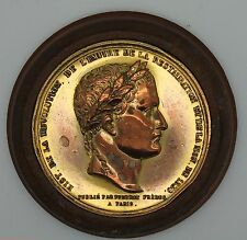 Vintage France 1830 Napoleon Bronze Medal Gold Plated Wood Case 52.4 mm 2 1/16""
