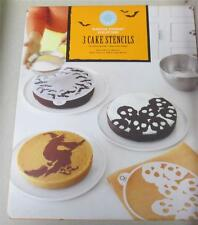 New NIP Martha Stewart  3 Cake Stencils - Halloween- Bats Skulls Flying Witch