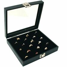Ring Organizer Display Box Case Jewelry Storage Glass 36 Slot Holder - Black
