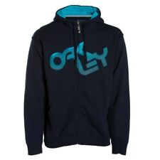 New Oakley Retro Fade Hoody Hooded Sweatshirt Men's Large Blue Hoodie Full Zip