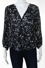 Joie Dark Blue Black White Silk Abstract Print Long Sleeve Casual Blouse Size XS