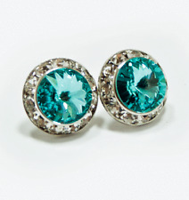 "Med 1/2"" Round 15mm Turquoise Aqua Blue Crystal Stud Earrings"