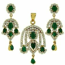 100% NATURAL EMERALD CZ JEWELLERY SET + FREE GIFT