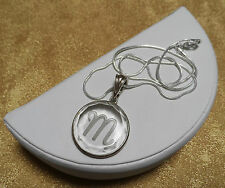 "Sterling Silver Etched Initial ""M"" Medium Size Glass Pendant w/Enhancer Bail EUC"