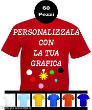 60 Magliette T-shirt rosse Personalizzate con le vostre scritte loghi foto etc.