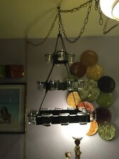 Pottery Barn Hanging Votive Candle Holder Metal Chandelier with 24 clear glass