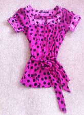 10 ATMOSPHERE Bright Cerise Pink Floaty Chiffon Top, Sash Tie, Black Polka Dots