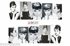 Full Wrap Water Transfers Nail Art Stickers Decals Black White Audrey Hepburn 27