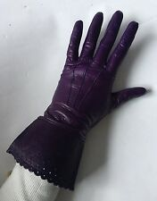 YSL YVES SAINT LAURENT DESIGNER PURPLE LEATHER SILK LINED GLOVES SIZE MEDIUM