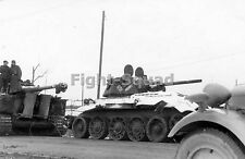 WW2 Picture Photo A German Tiger I heavy tank and damaged Soviet T-34 tank 1297