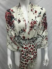100% PASHMINA FLOWER LEOPARD PRINT DESIGN SCARF WRAP ALL SEASON RED BLACK