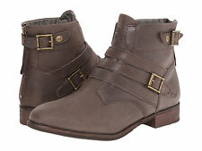 NIB WOMENS CAT BY CATERPILLAR VIVIENNE ANKLE BOOTS - 8 / 39 - BROWN LEATHER