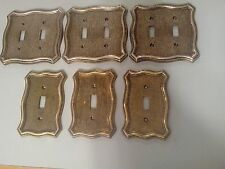 6 Vintage Metal Switch Plates 2 Different Types 1968