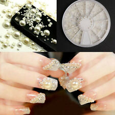 Fashion White 3D Nail Art Tips Pearl Acrylic Gem Glitter Manicure DIY Decoration