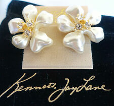 Kenneth Jay Lane White Pearl Flower Petal Clip Earring w/Swarovski Crystals NEW!