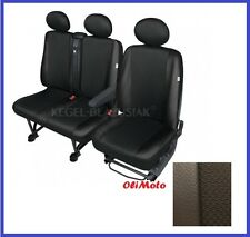 Tailored Seat Covers Black Eco-Leather+Cloth Fabric 2+1 VW Transporter T4