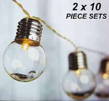 2 x 10 Piece Premium LED Solar Clear Globe Festoon String Light Kit