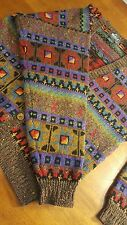 WOOLRICH Womens Pure Wool Medium Aztec Indian Blanket CARDIGAN Sweater Colorful