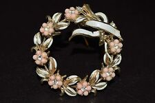 "Vintage CORO Rhinestone Bead Enamel Gold Tone Flower Wreath Pin Brooch 2"" x 2"""
