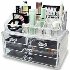 ACRYLIC MAKEUP Cosmetic ORGANIZER CASE BOX Storage Display Holder Drawer 2-PIECE