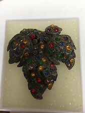 VINTAGE LITTLE NEMO SIGNED LEAF ART NOUVEAU DECO RHINESTONE DRESS CLIP