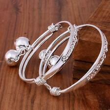 Lovely 2pcs A+ 925 Silver Plating Baby Kid Bell Adjustable Bangle Bracelet 5.5""