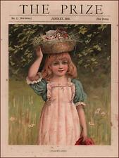 GIRL Carries Basket of Kittens on her Head, Cats, antique Chromolithograph 1890