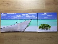 * NEW MODERN SET 3 NAUTICAL JETTY SEA blue skies canvas wall art pictures.