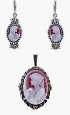 "Red Agate Cameo 25X18mm Necklace & 14X10mm Earring Set 18"" Chain Sterling Silver"