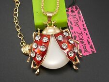 Betsey Johnson Cute fashion inlay Crystal ladybug Pendant Necklace #F279