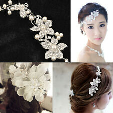 Hot Women Bridal Flower Pearl Crystal Head Hair Comb Wedding Jewelry Accessories