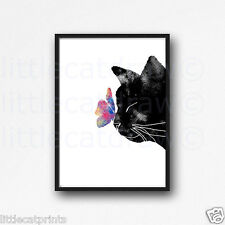Black Peeking Cat With Rainbow Butterfly Watercolour Painting PRINT 5x7 Wall Art