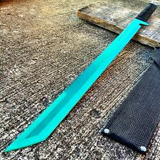 "27"" FULL TANG NINJA MACHETE KATANA SWORD ZOMBIE TACTICAL SURVIVAL KNIFE GREEN"