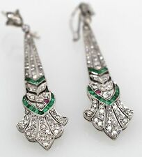 DECO EMERALD, RUBY 2.50 CARAT DIAMOND EARRINGS 14K WHITE GOLD 6CM LONG