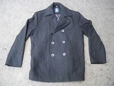 Vintage Chaps Men's Black Wool Military Gentleman's Pea Coat Jacket Size Medium