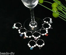 10 Mixed Acrylic Pearl Wine Glass Charms Gifts Wineglass Markers