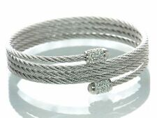 Steel by Design Crystal Accent Coil Bracelet (White)