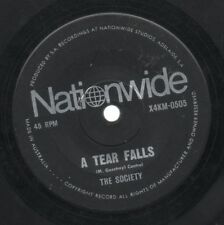"THE SOCIETY    Rare 1969 Aust Only 7"" OOP Nationwide Label Single ""A Tear Falls"""