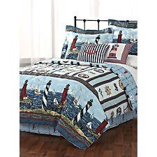 Lighthouse, Sailboat, Nautical Full Comforter, Shams & Bed Skirt (4 Pc Bedding)