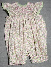 CARRIAGE BOUTIQUES INFANT GIRLS MULIT-COLORED FLORAL SMOCKED ROMPER SZ 6/M VGUC