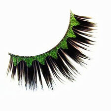 1Pair Green Wave Pattern Party False Eyelash Kit Long Curly False Eyelashes