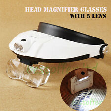 Head Strap Band Magnifier Glasses LED Light Loupe Loop Jewelers Visor Adjustable