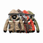 Fashion Winter Warm Coat Badge Hooded Lined Jacket Snowsuit For Kids Boys 3~7Yrs