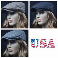 Men's Women's Ivy Hat Newsboy Gatsby Cap Black Brown Gray Golf  Flat Cabbie